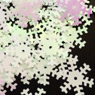 Large 18mm Opaque Iridescent White Snowflake Sequins x 100